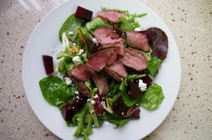 Roasted-Beet Salad with Sherry Vinaigrette topped with Grilled Steak